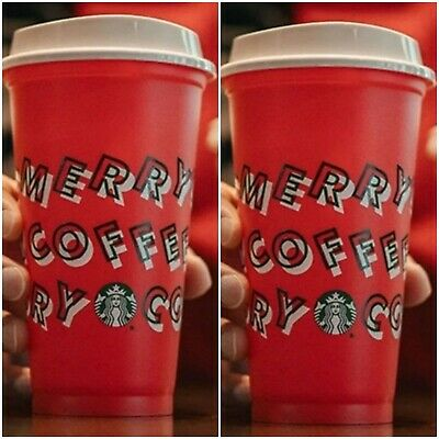 ☕2 Starbucks 2019.🥤Holiday Christmas Red Reusable Hot/Cold Cups. Merry Coffee!