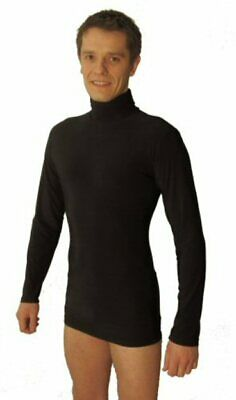 Mens Stretchy Latin / Dance Practice Polo Neck Top. Black / Other Colours