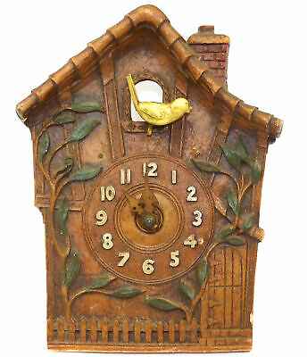 vtg Antique Pressed Wood Syroco Type House Shaped Cuckoo Clock Black Forest NR