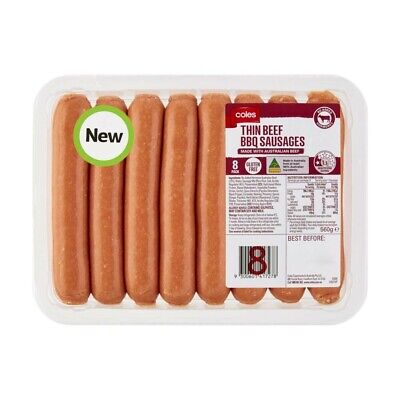 Coles Thin Beef BBQ Sausages 8 pack 560g