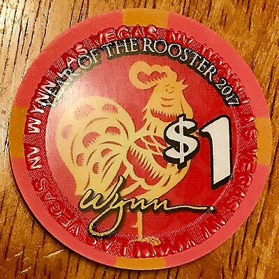 $1 Wynn Casino Chip - Chinese New Year 2017 - Rooster - Las Vegas - Uncirculated