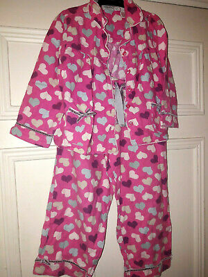 Girls Monsoon Pyjamas Set 4-6 Years,  Pink hearts. Brushed cotton