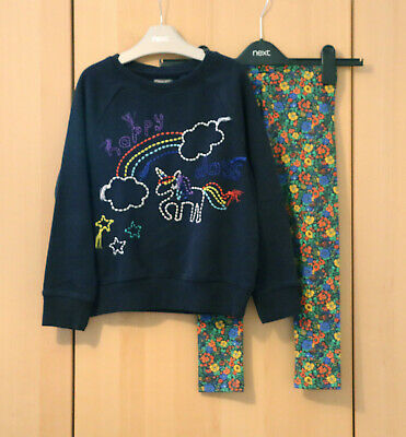 NEXT Girls Navy Embroidered Jumper  & Floral Print Leggings Age 6 Years BNWT