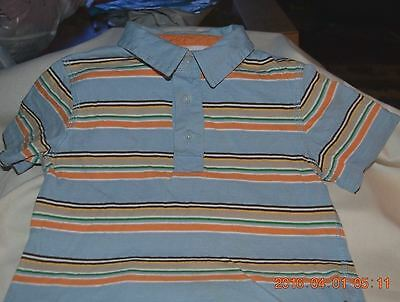 Toddler Boy Size 4T Shirt Short Sleeve Striped Multi-Color 100% Cotton