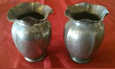 Antique Vases in Pewter Hallmarked not Identified