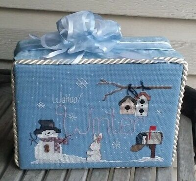 Finished Complete Winter Christmas Cross Stitch stand up WAHOO WINTER Snowman