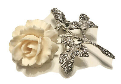 VTG Germany Fine Art Deco Sterling Silver Marcasite Carved Flower Brooch Pin 925