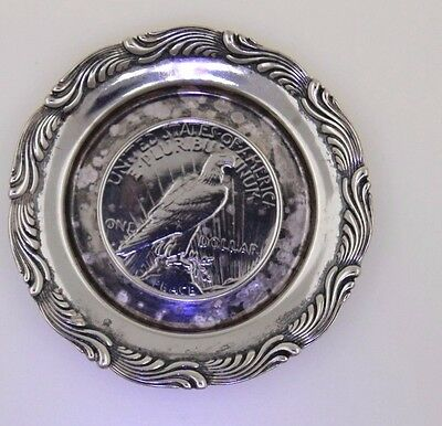 "Antique Tiffany & Co Sterling Silver 3"" Plate With Sliver Coin"