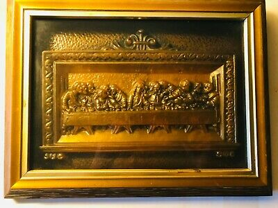 """Antique ICON of Jesus' """"LAST SUPPER"""" Bronze Sculpture in Wooden Shadow Box Frame"""