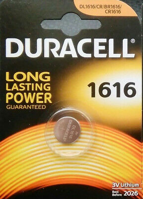1 X Duracell CR1616 3V Lithium Button Battery Coin Cell DL1616 FREE P&P UK