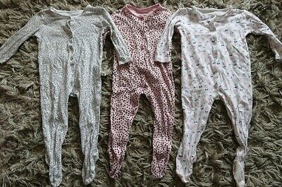 Girls 12-18 Months 1-1.5 Years Sleepsuits And Vest Bundle