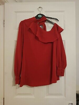ASOS Red Maternity One Shoulder Top Blouse Size 10
