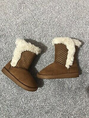 Toddler Girls Kids Faux Fur Winter Warm Flat Snugg Ankle Boots 6