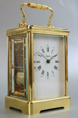 SUPERB ANGELUS BELL STRIKING CARRIAGE CLOCK English made 22ct GOLD PLATED