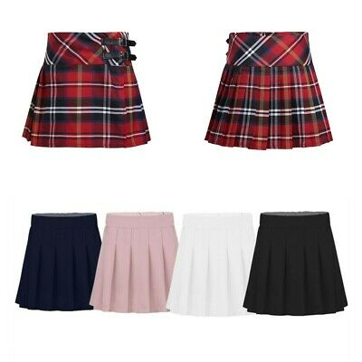 Girls Pleated Skirt School Uniform Skorts Tartan Pleated Skater Scooter Dress