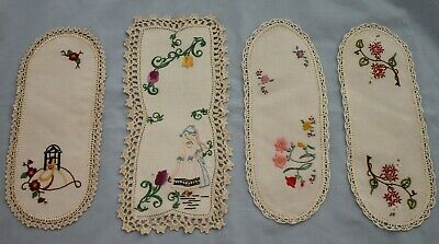 4 Vintage Embroidered Sandwich Tray Doilies