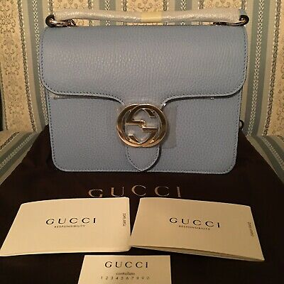 NWT Gucci Blue Dollar Leather Icon Interlocking Gold GG Logo Chain Crossbody Bag