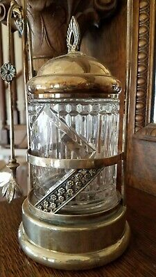 Antique Quadruple Silver Plated Pickle Jar with Cut Glass and Tongs Victorian