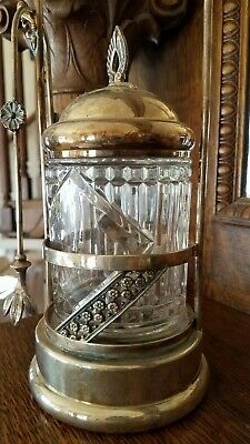 Antique Silver Plated and Cut Glass Pickle Jar with Tongs Victorian
