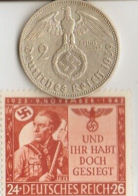 (Beerhall Anniversary)-*WW2- RARE stamp +*german SILVER EAGLE coin