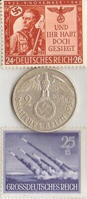 (Pinamunda ROCKET launcher)  -*WW2-two RARE stamps +*german SILVER EAGLE coin