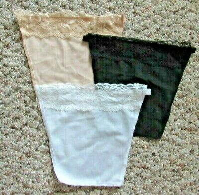 3 Cami Secrets Faux Camisole Snap-On Modesty Accessory Black Nude/Beige White