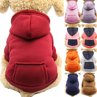Pet Dog Cat Winter Hoodie Jacket Coat Puppy Pockets Jumper Sweatshirt Clothes