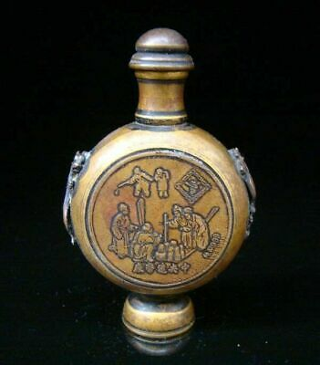 Collectible Handmade Carving Statue Copper Brass Snuff Bottles