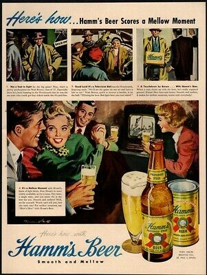 1949 HAMM'S Beer - Football - Sports - Friends - Family - Bottle VINTAGE AD