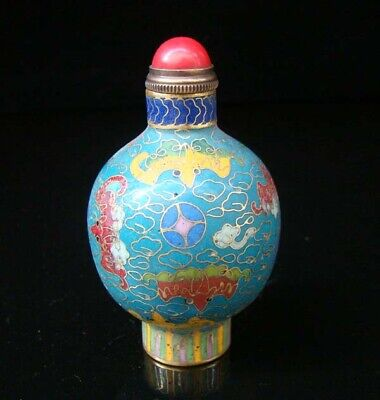 Collectibles 100% Handmade Painting Brass Cloisonne Enamel Snuff Bottles 014