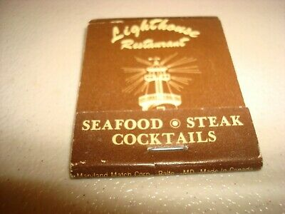 Rare Vintage Matches Lighthouse Restaurant Baltimore Maryland USA Original!