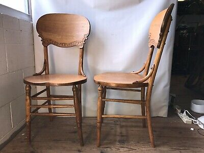 VINTAGE OAK WOOD CARVED CHAIR Press Back Antique Furniture Pair