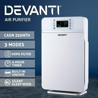 Devanti Air Purifier HEPA Filter Home Office Freshener Ioniser Dust Odor Cleaner