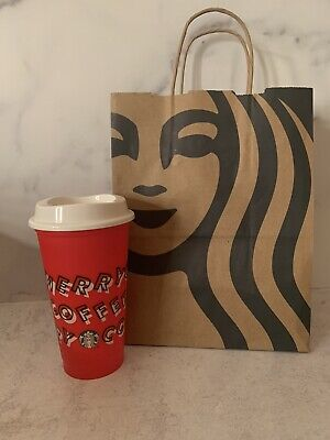 Starbucks 2019 Holiday Reusable Red Hot Cup Grande 16oz Plastic Merry Coffee NEW