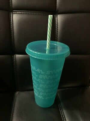 Starbucks 2019 Holiday Christmas Reusable Seasonal shine 24oz 1 cup Green w stra