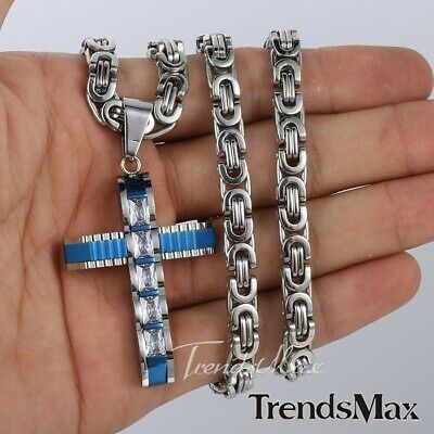 Stainless Steel Blue Silver Cross Pendant Necklace 5MM Mens BYZANTINE Chain Gift