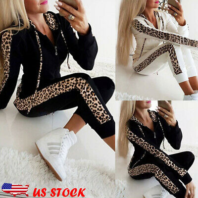 NEW Womens Sport Hoodies Sweatshirt Leopard Print Set 2Pcs Tracksuit Sweat Suit