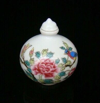 Collectible 100% Handmade Painting Porcelain Snuff Bottles Flower Bird 31