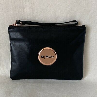 Free Shipping Mimco Lovely Medium Pouch Black Rose Gold Sheepskin Rrp99.95