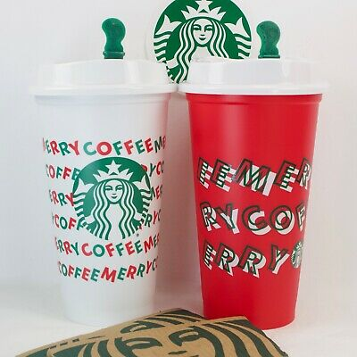 2 Starbucks Merry Coffee Reusable 2019 Hot Tea Drink Red Cup .50 discount