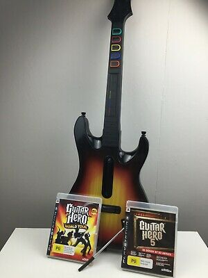Guitar Hero - Wireless Controller - PS3 - Sunburst - 2 x Games - No Dongle -