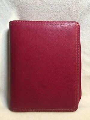 RARE Compact Franklin Covey Planner ~ PINK Pebbled Genuine Leather w/ Zipper