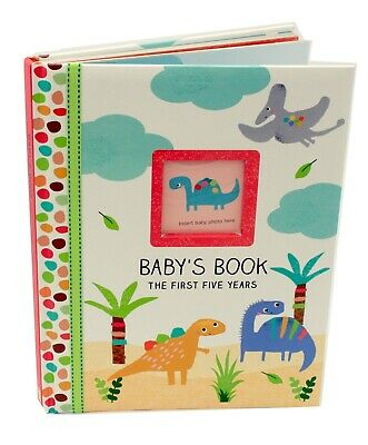 Dinosaur Baby Boy Newborn First Five Years Record Book Photo Album