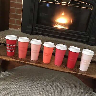 NEW Starbucks Christmas 2019 Reusable Hot Cups Set 6 Pack w/ Lids + FREE RED CUP