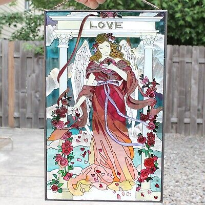 Vintage Art Nouveau Window Panel Stained Glass Love Angel Garden