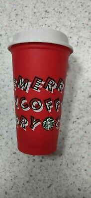 Starbucks 2019 Red Reusable Hot Cup Grande 16 oz Plastic Coffee Holiday Xmas