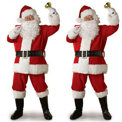 5Pcs/1 Set Christmas Santa Claus Costume Fancy Dress Adult Suits Cosplay Outfits