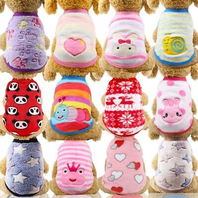 Cartoon Warm Soft Fleece Pet Dog Puppy Cat Clothes Coat for Small Dogs chihuahua