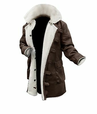 Men's The DarK Knight Rises Tom Hardy Bane Faux Shearling Leather Tranch Coat