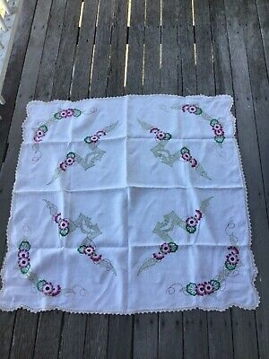 Vintage Pink & Green Floral Embroidered Tablecloth with Hand Crocheted Edge